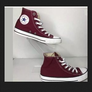 Womens high top converse size 8 burgundy